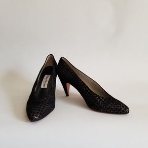 Evan Picone Pump 9M Black Suede Silver Accents